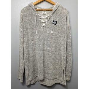 VICTORIA'S SECRET PINK Gray Lace Up Sweatshirt